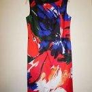 Lafayette 148 Faith printed sleeveless sheath dress sz 8 tango red mult NWT $548