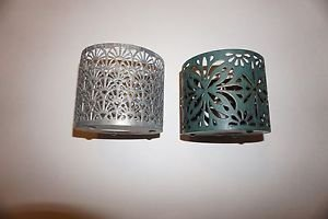 Bath & Body Works 3-wick candle sleeves set of 2 silver fan & green flower new