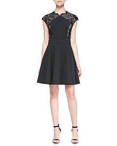 Ted Baker Vivace black neoprene dress sz TB 0/US 2 cap sleeves lace sides NWT