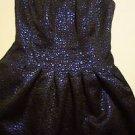 Romeo & Juliet Couture strapless dress sz XS fit & flare black/metallic blue NWT