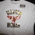 Girls Under Armour white t-shirt gold foil & hot pink Wonder Woman logo YXL NWT