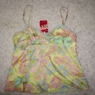 "Miss Sixty ""atoll"" silk camisole sz L yellow with pink and blue floral print NWT"