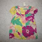 Womens Shoshanna blouse sz 6 100% silk yellow with purple pink green flowers NWT