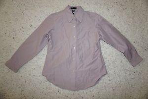 Anne Klein II long-sleeve shirt sz M button down style gray-lavender mauve NWT