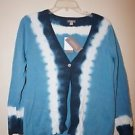 J. Jill womens V-neck cardigan sz petite S blue and white hand dyed cotton NWT