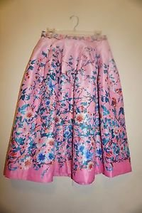 Champagne and Strawberry pleated floral print skirt sz M pink with blue NWT