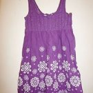 Max Studio sundress sz L purple with white eyelet smocked bodice EUC