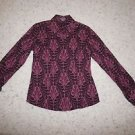 Ann Taylor long-sleeve blouse shirt magenta purple mauve pattern size O EUC