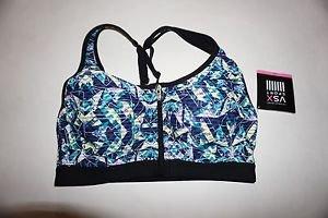Victoria's Secret knockout front-close sport bra blue green glow-in-dark 32B NWT