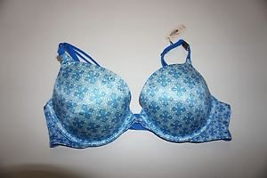 Victoria's Secret push-up bra 32B or 34C white with blue pattern rhinestones NWT