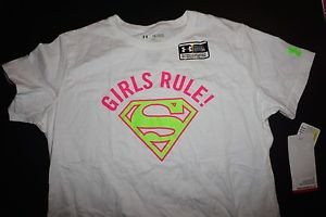Girls Under Armour white Supergirl t-shirt with pink Girls Rule logo sz YXL NWT
