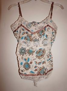 Womens Nolita tank top sz S beige with brown & turquoise flowers lace tie EUC