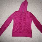 Victoria's Secret magenta fuchsia jacket velour size S hoodie front ruching NWOT