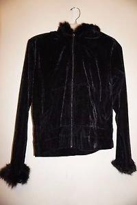Jasmine Rose Signature black velour hoodie sz S fur trim on hood & sleeves NWT