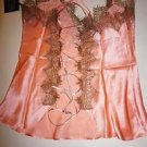 Harriett/Fredericks Hollywood 100% silk camisole/short set sz S peach orange NWT
