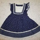 Gunne Sax vintage girls dress sz 5 navy floral print with ivory lace ribbon used