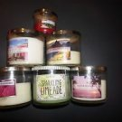Bath & Body Works set/5 used 3-wick candles + 1 4 oz limeade raspberry rio glow