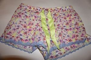 Victoria's Secret pink daisy with bright yellow sleep shorts size M NWT