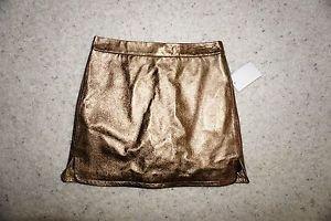 "Rebecca Minkoff bronze metallic leather ""Madge"" mini skirt size 2 NWOT"
