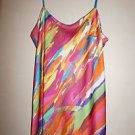"Natori ""Palau"" long gown size XS multi-color paint print NWOT"