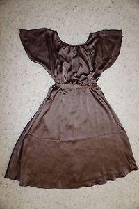 Anthropologie Ravie brown satin dress by HD in Paris sz 0 flutter sleeves NWT
