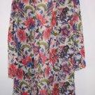 Natori short robe size L white with blue red green elegant floral print EUC