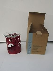 Partylite Winter Lace fragrance warmer red color snowflake pattern NIB