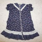 Girls Gunne Sax vintage prairie dress sz 6 navy floral print w/ ivory lace used
