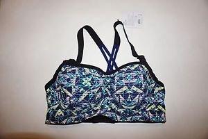 Victoria's Secret Angel sport bra blue green yellow glow-in-dark print 34D NWT