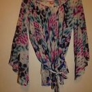 Sweet Pea long-sleeve loose flowing blouse sz S waist tie multicolor print NWOT