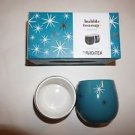 Davids Tea bubble tea cups set/two 6 oz each blue with white & silver stars NIB