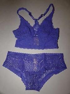 Victoria's Secret Lacie purple bralette & hiphugger purple w/ gold dots sz S new