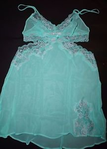 Victoria's Secret sheer aqua green chemise gown lace accent open sides sz XS new