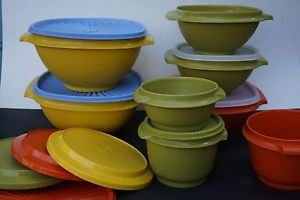 Tupperware vintage Servalier bowls w/ clear seals orange green yellow used