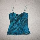 Laundry by Shelli Segal silk tank top size M blue black marbled pattern EUC