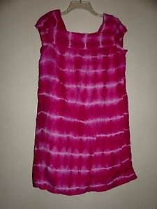 Calypso St. Barth bright pink & white tie dye shift dress cap sleeve sz XS EUC