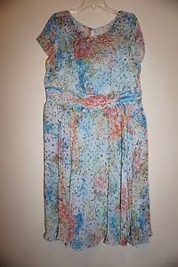 Adrianna Papell Multicolor Monet Floral Chiffon Cocktail Dress sequins 16W NWOT