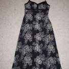 J. Crew long sundress halter style size 4 black with gray & cream print EUC