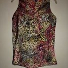 Hale Bob loose sleeveless blouse size S black tan magenta yellow print EUC