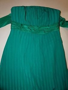 Moulinette Soeurs strapless silk dress faint green stripes empire waist sz 2 EUC