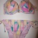 Victoria's Secret Hottie Halter bikini multicolor paintbrush 34D bikini sz L NWT