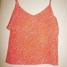 JOIE camisole with ruffle size L coral orange animal print 100% silk NWT