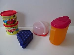 Tupperware lot of kids items pitcher/Cars canisters/CD holder/fruit locker new