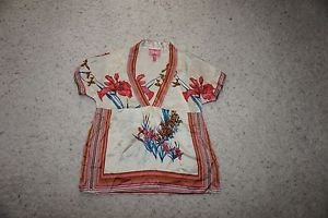 Yumi Kim silk blouse top sz XS cream with coral blue brown floral pattern EUC