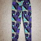 Victoria's Secret Knockout tight sz S geo triangles lines purple aqua yellow NWT