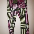 Womens Nike Pro workout tights crop style sz L pink/yellow/black geometric NWOT