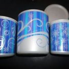 Tupperware set 3 Christmas winter canisters blue & white snowflake ornament NWT