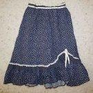Girls Gunne Sax vintage prairie skirt sz 10-12 navy floral print ruffle trim EUC