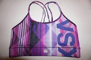 Victoria's Secret show-off sport bra sz M purple pink black lines geometric NWT