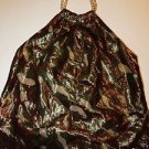 INC metallic camoflage print halter neck top gold chain neck sz 6 EUC
